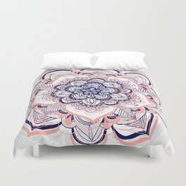 Woven Dream - Mandala in Pink, White and deep Purple Duvet Cover