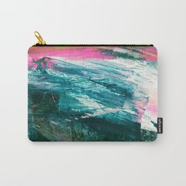 Meditate [4]: a vibrant, colorful abstract piece in bright green, teal, pink, orange, and white Carry-All Pouch