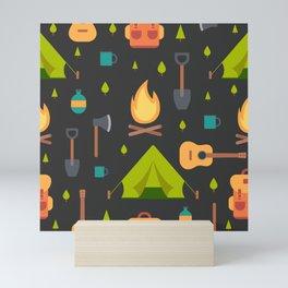 Camping Themed Pattern Mini Art Print