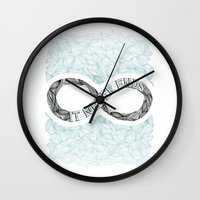 infinity Wall Clocks featuring Infinity by Barlena