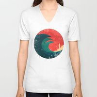ocean V-neck T-shirts featuring The wild ocean by Picomodi