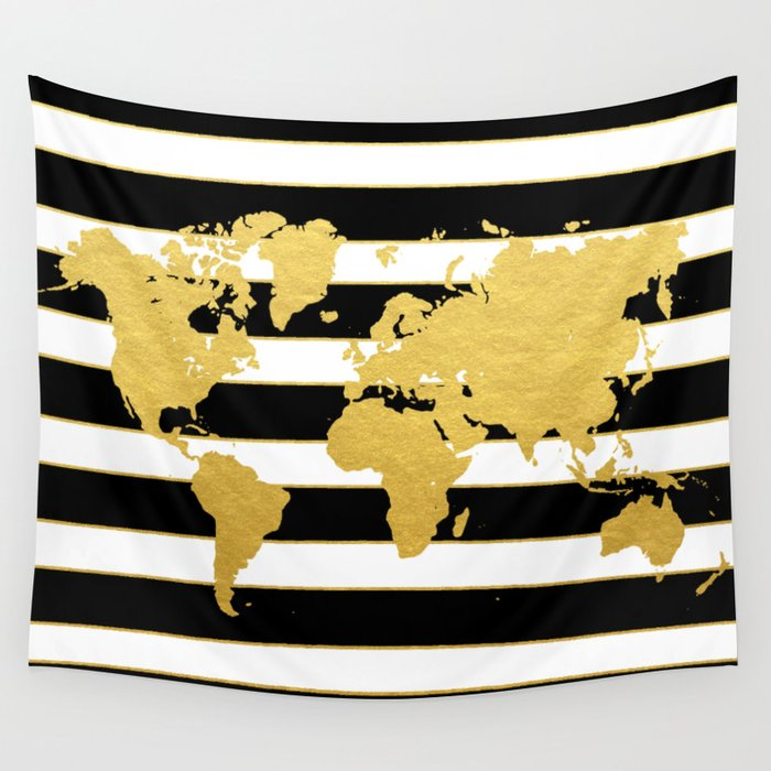 Gold striped world map wall tapestry by bysamantha society6 gold striped world map wall tapestry gumiabroncs Images