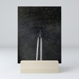 Star Flight - Airplane crossing a starry sky Mini Art Print