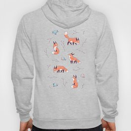 Fox and Bird Pattern Hoody