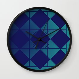 Blue,Diamond Shapes,Square Wall Clock
