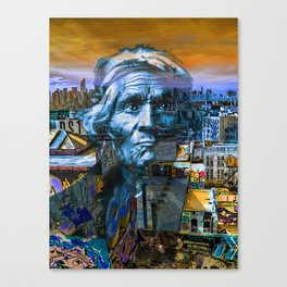Ghost Tribe Native Americans in New York Blue Canvas Print