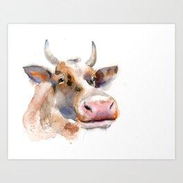 Watercolor cow portrait 1 Art Print
