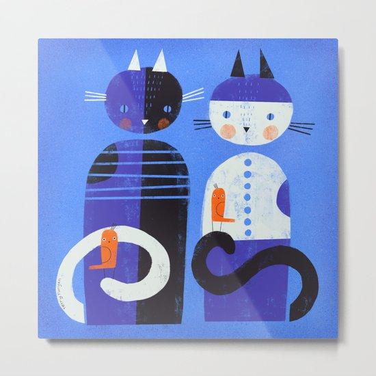 BLUE CATS ORANGE BIRDS Metal Print