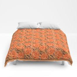 Orange roses on tiger pattern . Comforters