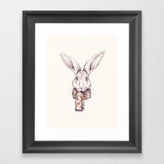 Bunny and scarf Framed Art Print