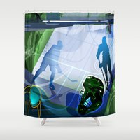 hockey Shower Curtains featuring Hockey by Robin Curtiss