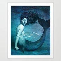 mermaid Art Prints featuring Mermaid by Christian Schloe