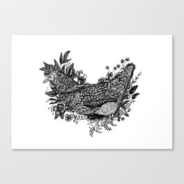 Rooster - Go Vegan Canvas Print
