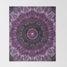 Purple mandala, crown chakra pattern sacred geometry, spiritual yoga art Throw Blanket