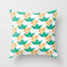 Pea Green boat Pattern Throw Pillow