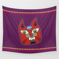 diablo Wall Tapestries featuring Gato Diablo by Scribblebro