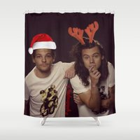 larry Shower Curtains featuring Funny Larry Stylinson Christmas by girllarriealmighty