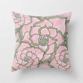Pretty Pink Flower Collage Throw Pillow