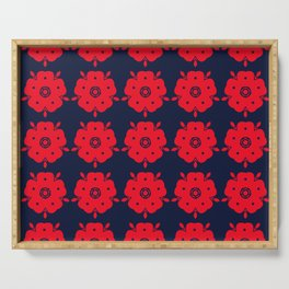 Japanese Samurai flower red pattern Serving Tray