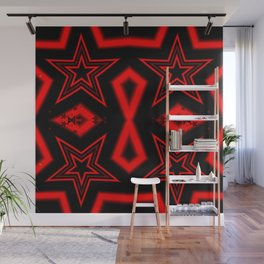 Four red stars pattern Wall Mural