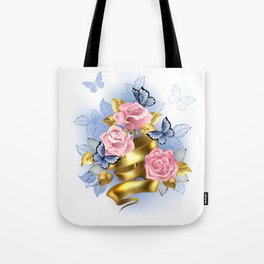 Pink Roses with Gold Ribbon Tote Bag