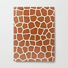 Wild Animal Print, Giraffe in Shades of Copper Brown Metal Print