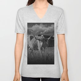 Texas Longhorn Steers under a Cloudy Sky in Black & White Unisex V-Neck