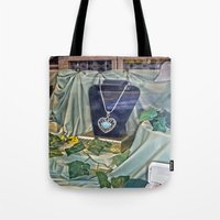 shopping Tote Bags featuring Window Shopping by Frankie Cat
