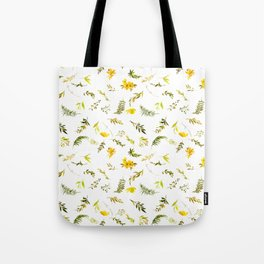 Tropical yellow green watercolor modern leaves floral Tote Bag