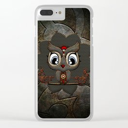 Cute little steampunk owl with floral elements Clear iPhone Case