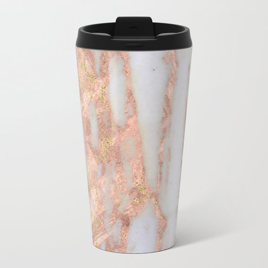 Aprillia - rose gold marble with gold flecks Metal Travel Mug