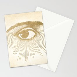 I See You. Vintage Gold Antique Paper Stationery Cards