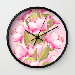 Pink Peonies on a pink background - #Sociey6 #buyart Wall Clock