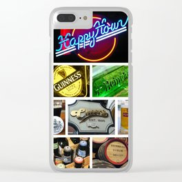 Happy Hour Neon Collage - Bar or Kitchen Decor Clear iPhone Case