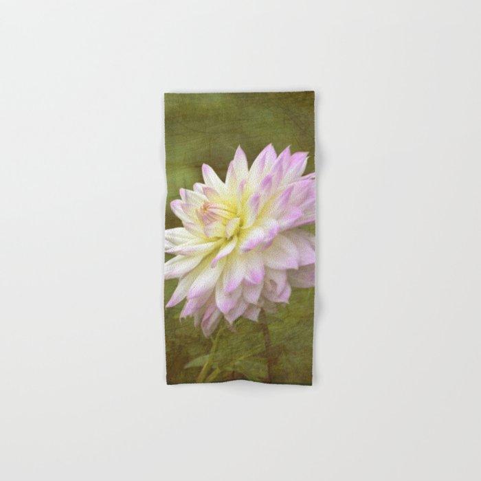 White Purple Dahlia Hand & Bath Towel