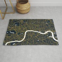 London City Map of England - Gold Art Deco Rug