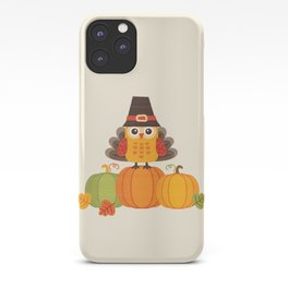 THANKSGIVING OWL IN TURKEY COSTUME ON PUMPKINS iPhone Case