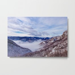 Winter morning in the mountains above the clouds Metal Print