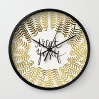 treat yo self Wall Clocks featuring Treat Yo Self – Gold by Cat Coquillette