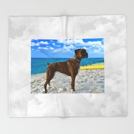BOXER DOG SURFER BEACH BUM AND FRIEND Throw Blanket