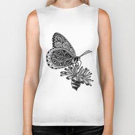 Tangled Butterfly on White Biker Tank