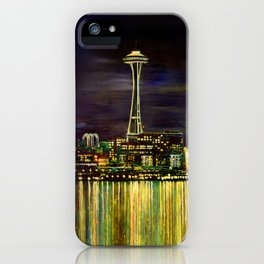 Seattle Night Skyline #3 iPhone Case
