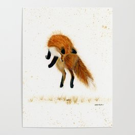 Fox Hop - animal watercolor painting Poster
