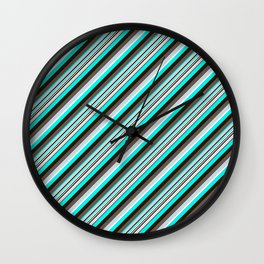 Blue Brown Black Inclined Stripes Wall Clock