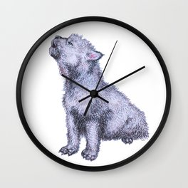 Howling Wolf Pup Wall Clock