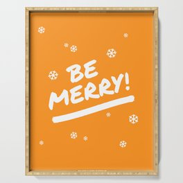 Bright Orange Be Merry Christmas Snowflakes Serving Tray