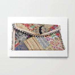 Indian Tribal Clutch Handbag with Embroidery Work Metal Print