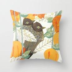Love Birds: Bulbuls Throw Pillow