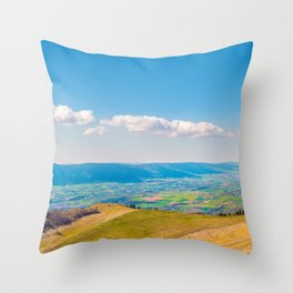 French rolling landscape hill mountain large panorama Throw Pillow