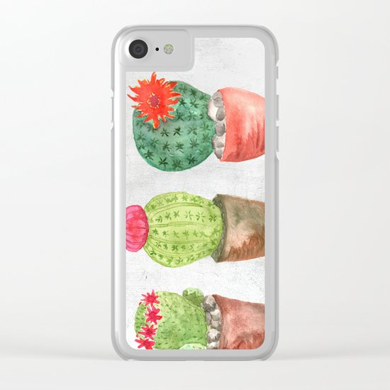 Three Cacti watercolor white Clear iPhone Case